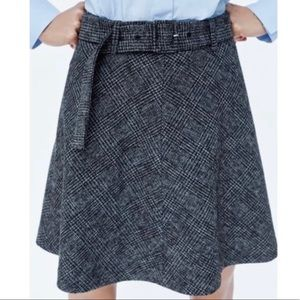 NEW Zara Wool Gray A-Line Circle Skirt Belt